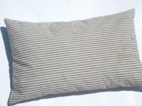 primitive old feather pillows, vintage blue stripe cotton ...