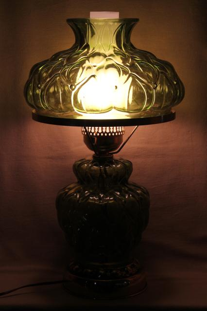 Farmhouse Table Lamps Quilted Glass Table Lamp W/ Chimney Shade, 60s Vintage