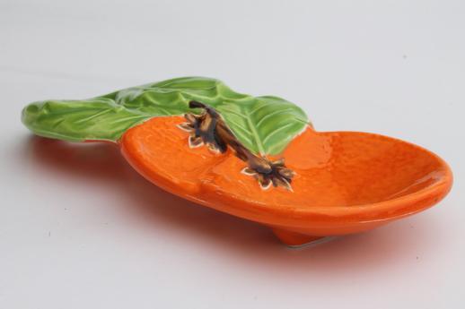 Retro Ceramic Spoon Rest W Hand Painted Orange Oranges