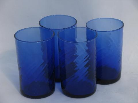 Swirl Pattern Vintage Cobalt Blue Glass Juice Glasses Set