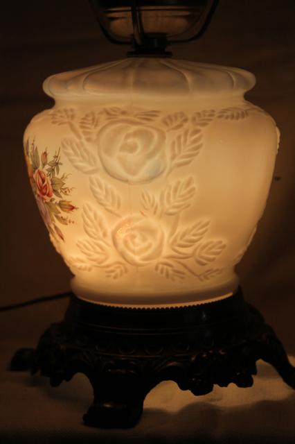 Vintage Lighting For Sale Vintage Fenton Milk Glass Lamp, Puffy Rose W/ Roses Lampshade & Lighted Base
