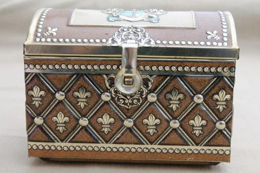 Vintage German Tin Box Treasure Chest Candy Container