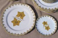 vintage Italian pottery dishes, hand-painted green grape ...