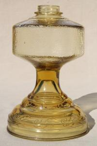 vintage amber yellow glass oil lamp, font base without ...