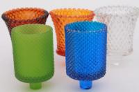 vintage colored glass candle cups, votive glasses for ...