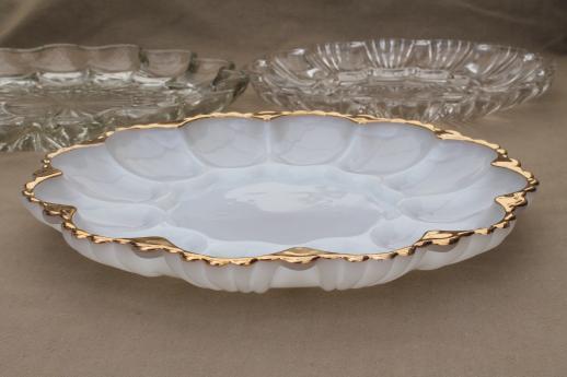 SaveEnlarge · Vintage Amber Glass Moon Stars Pattern Egg Plate & Antique Deviled Egg Plate - Castrophotos