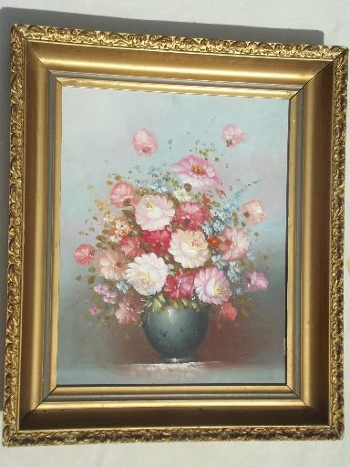 Vintage Lighting For Sale Vintage Painting On Canvas, Shabby Chic Floral In Large Antique Gold Frame