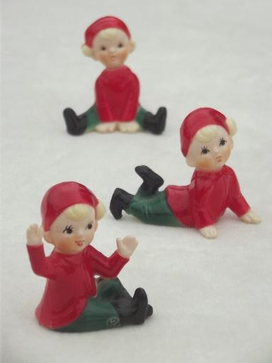 vintage plastic Christmas decorations, tiny red \ green pixies - plastic christmas decorations