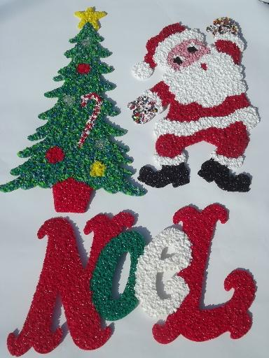 vintage popcorn plastic holiday decorations, dancing Santa - plastic christmas decorations