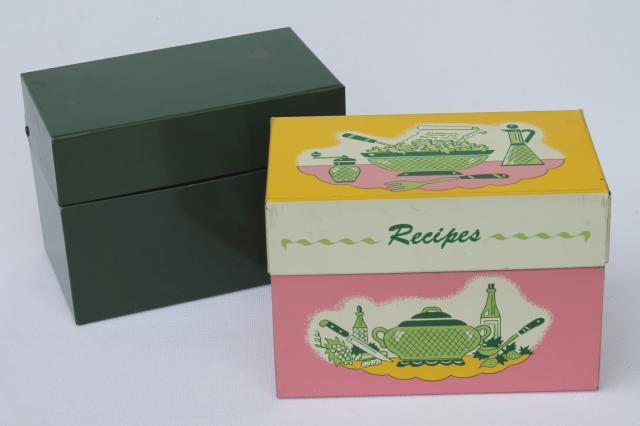 Vintage Recipe Boxes Pink Kitchen Print Metal Card File