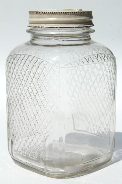 Paint Kitchen Cabinet Hardware Silver Vintage Waffle Glass Hoosier Jars, Old Square Glass