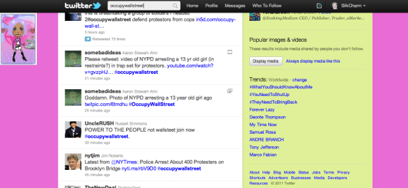Why doesn't Twitter show the #occupywallstreet hashtag?