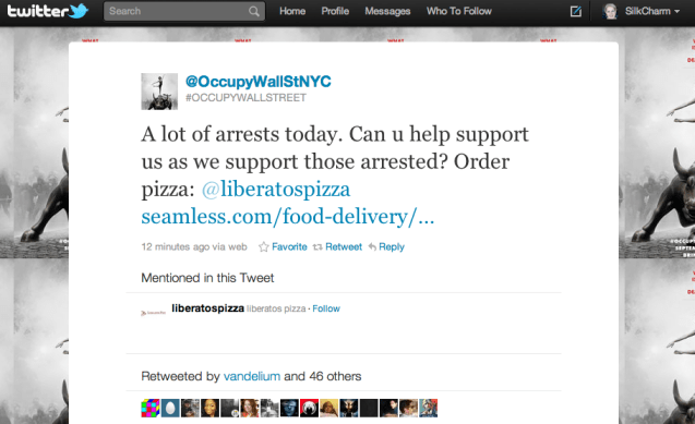 pizza occupywallstreet riot twitter