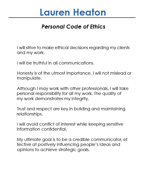 Personal code of ethics essay Research paper Writing Service - personal integrity essay