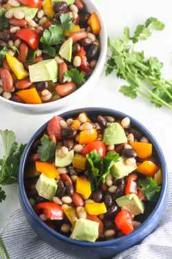 Sweet Protein This Mexican Bean Salad Is Packed Isly Mexican Bean Salad Vegetarian Mexican Recipes Burritos Vegetarian Mexican Recipes Easy Fiber