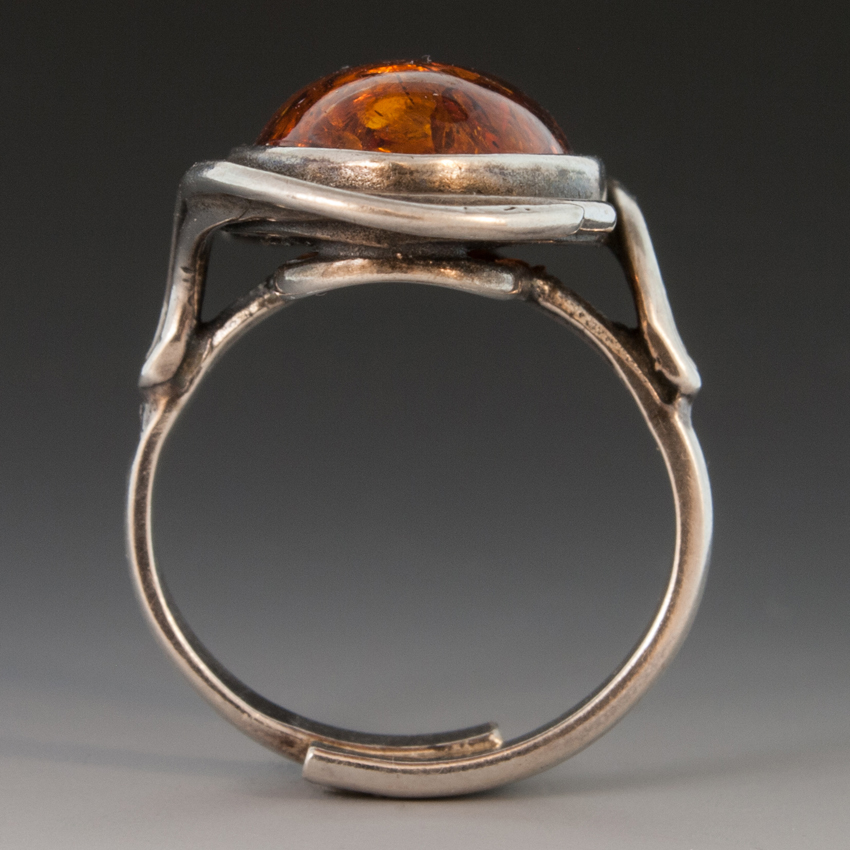 Art Deco Style Jackets Sterling Silver Ring W/large Amber