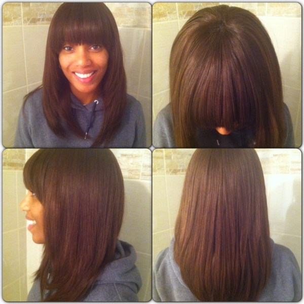 Switch it up Full weave with bangs feat Ebony. 1024 x 1024.Sew In Weave Bob Hairstyles With Bangs