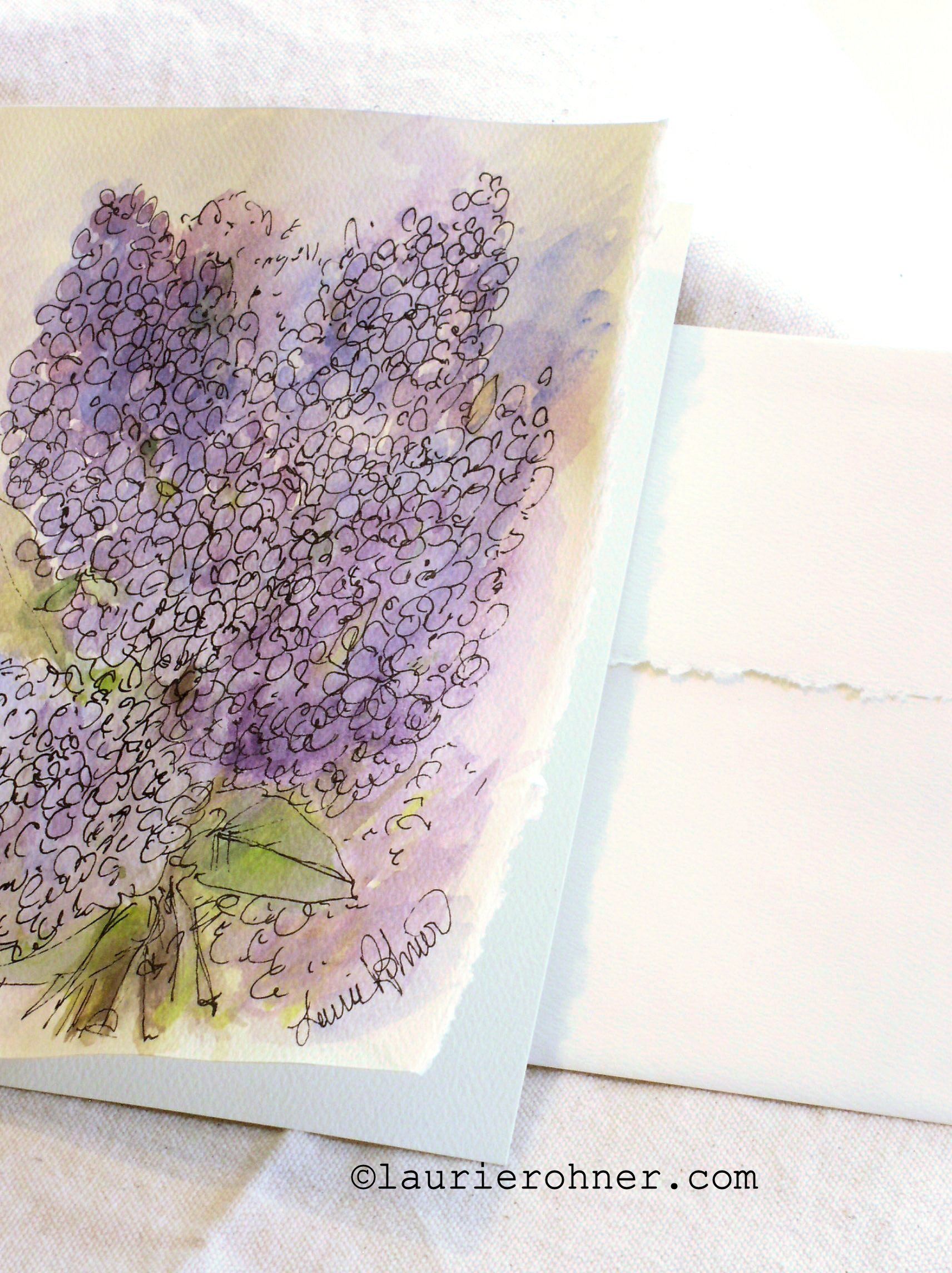 Botanic Soldes Sold Lilacs Watercolor Botanical Nature Art Card