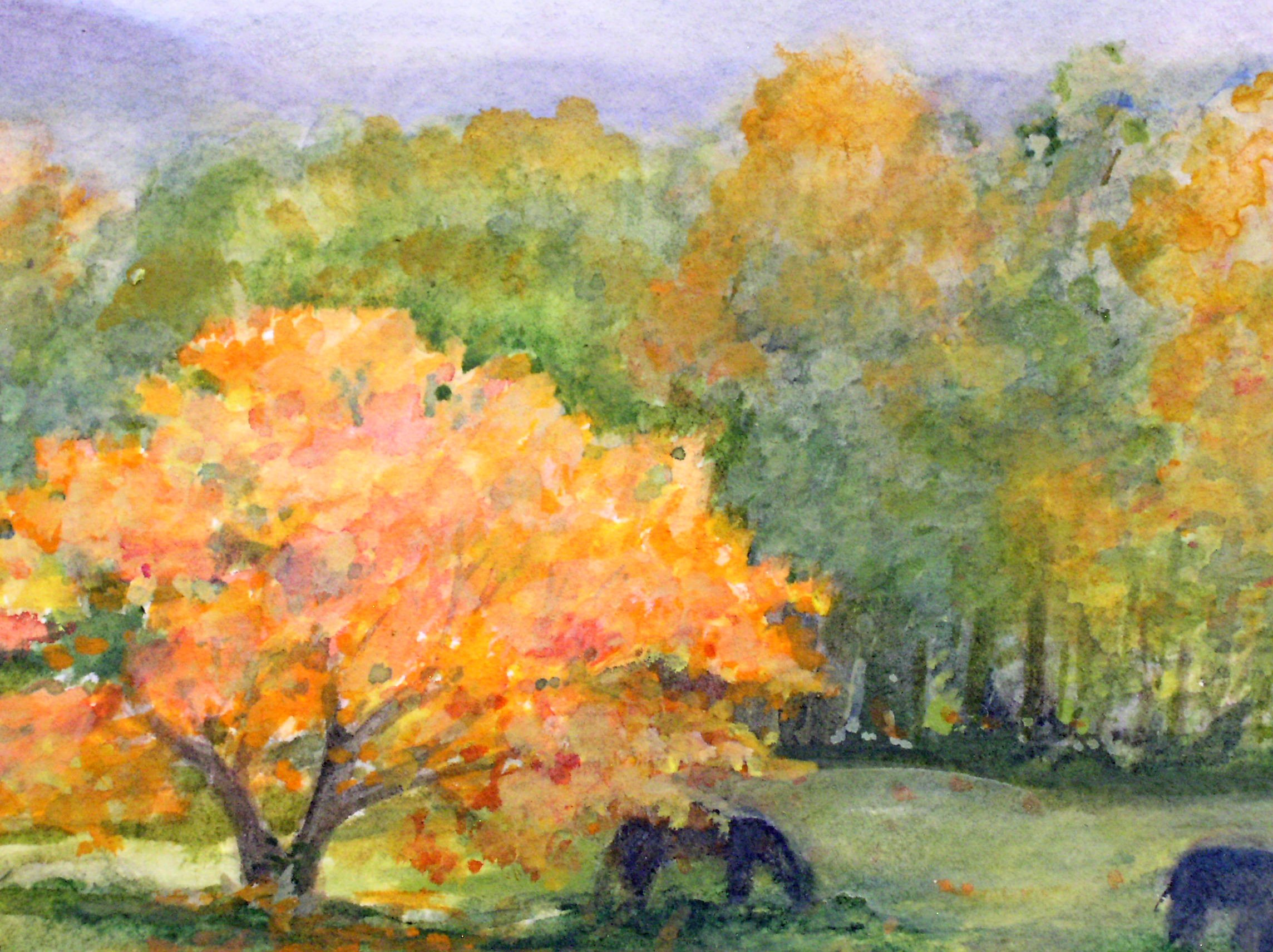 Shabby Shop Fall Autumn Landscape Watercolor Picturesque Scene Nature