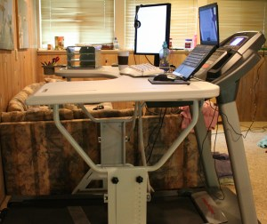 TrekDesk treadmill desk side view