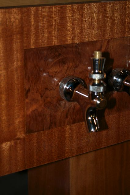Tap tower detail- Pomelle Bubinga surrounded by Sapele