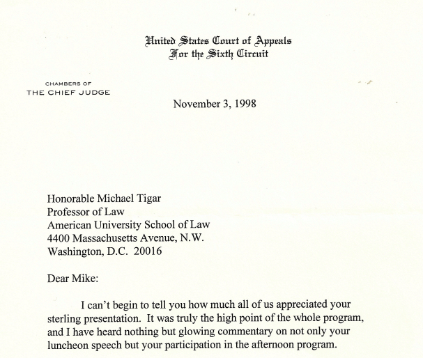 The Michael Tigar Archive Letter from Chief Judge Martin about