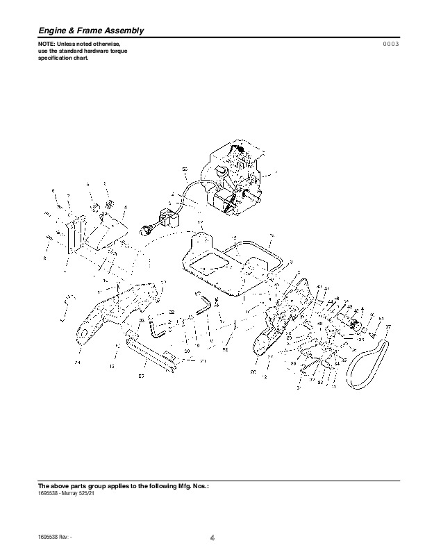Murray Walk Behind 1695538 Snow Blower Parts Manual
