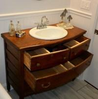 Repurposed Antique Dresser turned into a Bathroom Sink Vanity