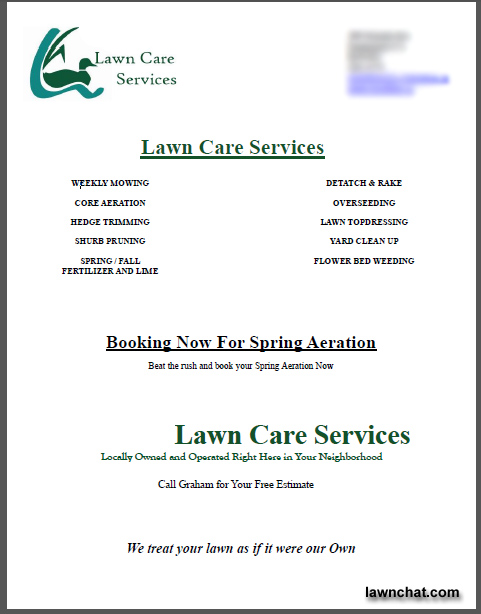 Spring lawn care flyer response rate Lawn Care Business Marketing - lawn services flyer