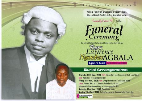 Funeral Invitation - lawrence agbala - Online Memorial Website - invitation for funeral