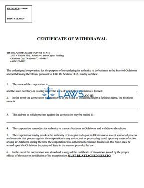 Certification And Forms Mdotmarylandgov Certificate Of Withdrawal Oklahoma Forms Laws