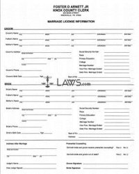 Form Application for Marriage License - Tennessee Forms ...