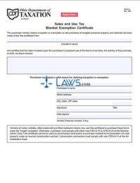 Form Sales and Use Tax Blanket Exemption Certificate ...