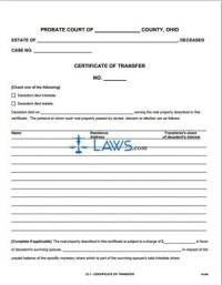 Certificate of Transfer - Ohio Forms - | Laws.com