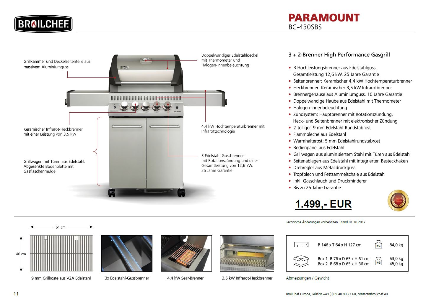 Broilchef Paramount Bc 430sbs Paramount High Performance Gasgrill