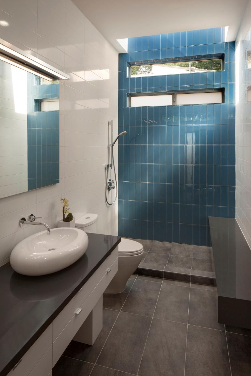 Blue Tile Accent Wall Modern Bathroom With Polished White Wall Tile Layjao