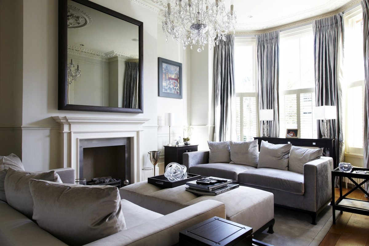 Modern Victorian Living Room With Delightful Grey Sofa And Crystal Layjao