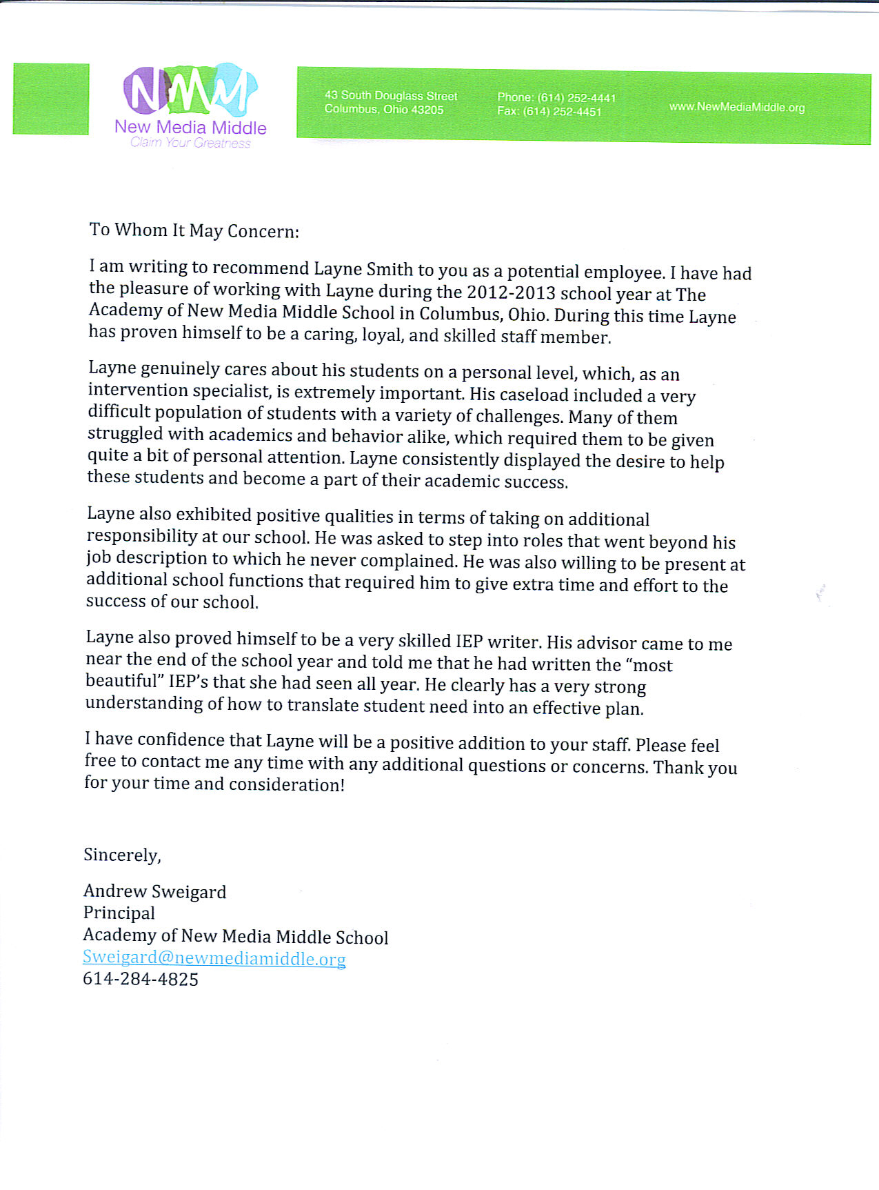 student letter to principal principal writes incredible letter to students regarding sweigard new media middle school