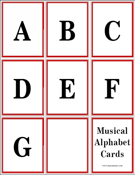 Musical Alphabet Flashcards Layton Music Games and Resources - alphabet card