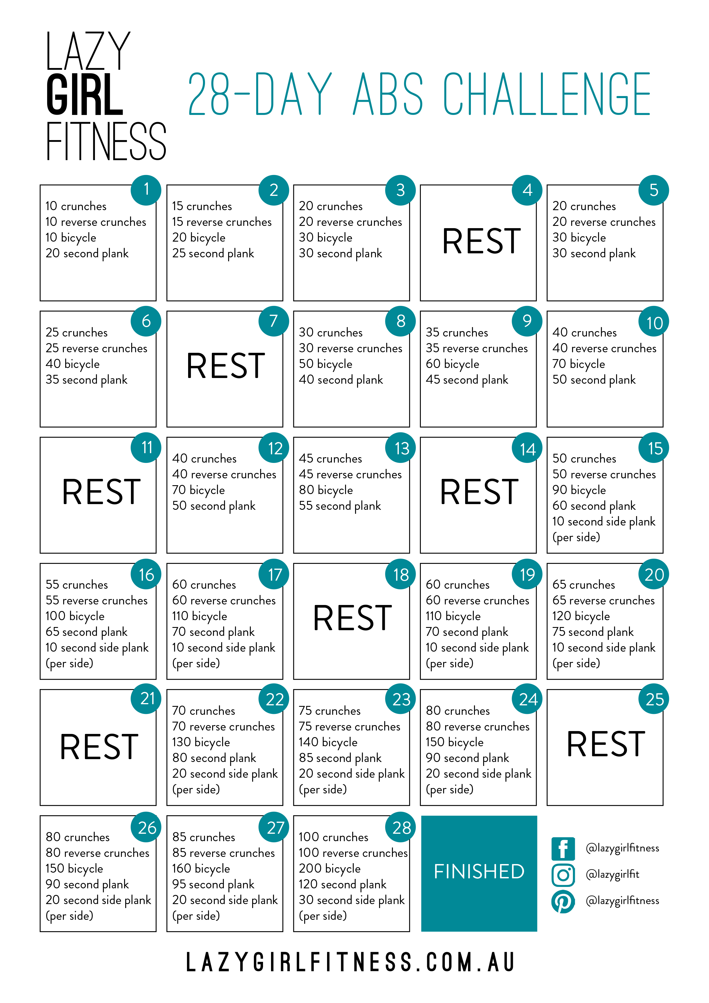 28 Day Abs Challenge Lazy Girl Fitness