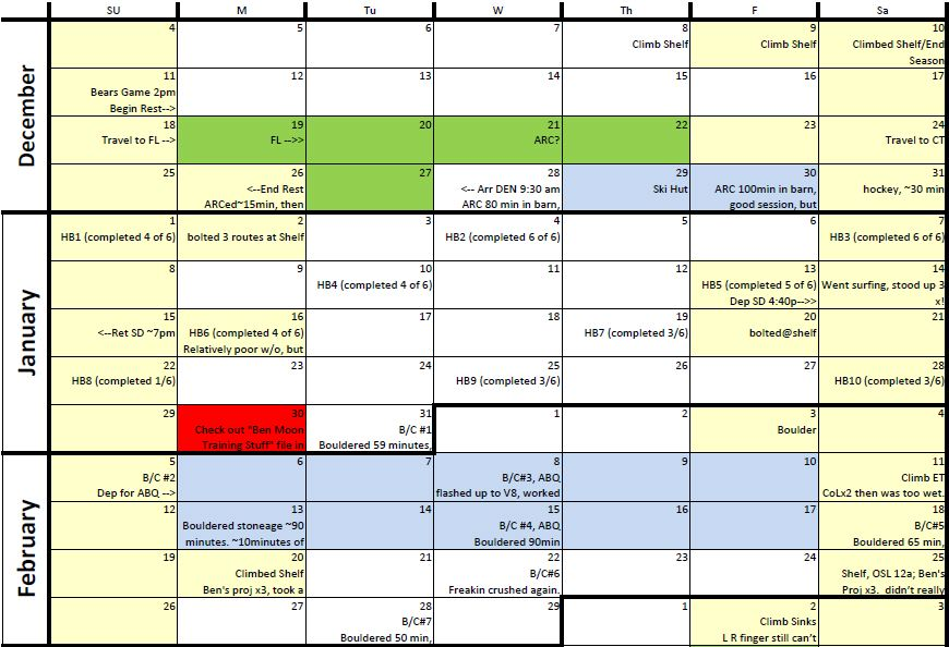 Scheduling Lazy H Climbing Club - sample training calendar