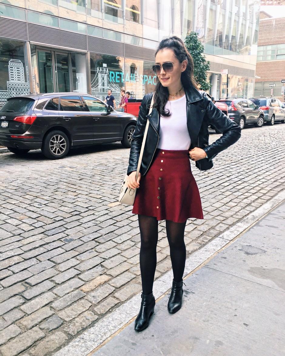 How to wear an Oxblood Skirt