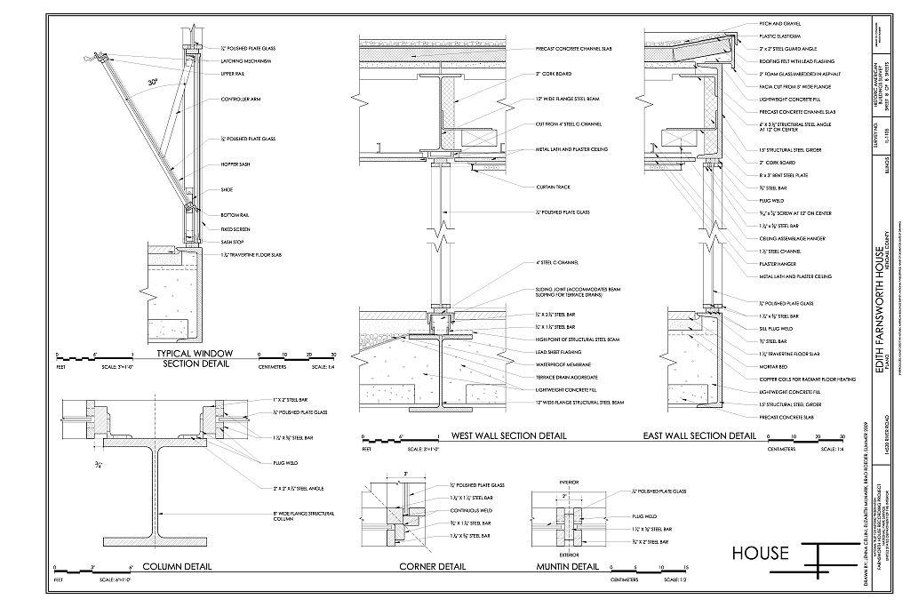 farnsworth house section - Google Search arch insp Pinterest - plan d interieur de maison