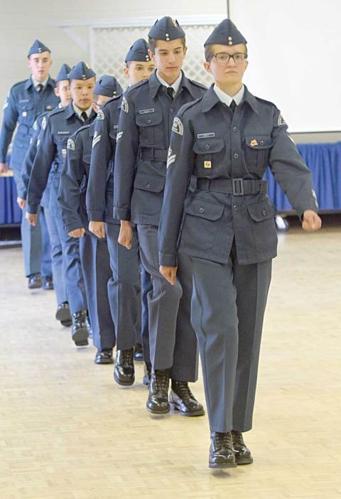 The cadets of 553 Sherlock Squadron march during their ceremonial review at Davidson Town Hall on June 13.