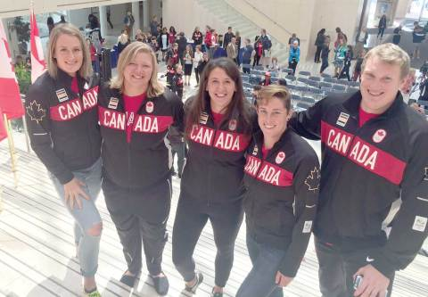 Hanley native Taryn Suttie (centre) poses with her teammates following the announcement of Canada's athletics team for the 2016 Summer Olympics in Rio de Janeiro, Brazil. Also shown are Elizabeth Gleadle, Brittany Crew, Heather Steacy and Tim Nedow, all of whom are competing in throwing events.
