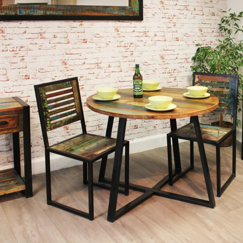 Dining Room Furniture Rustic Urban Chic Round Rustic Dining Table