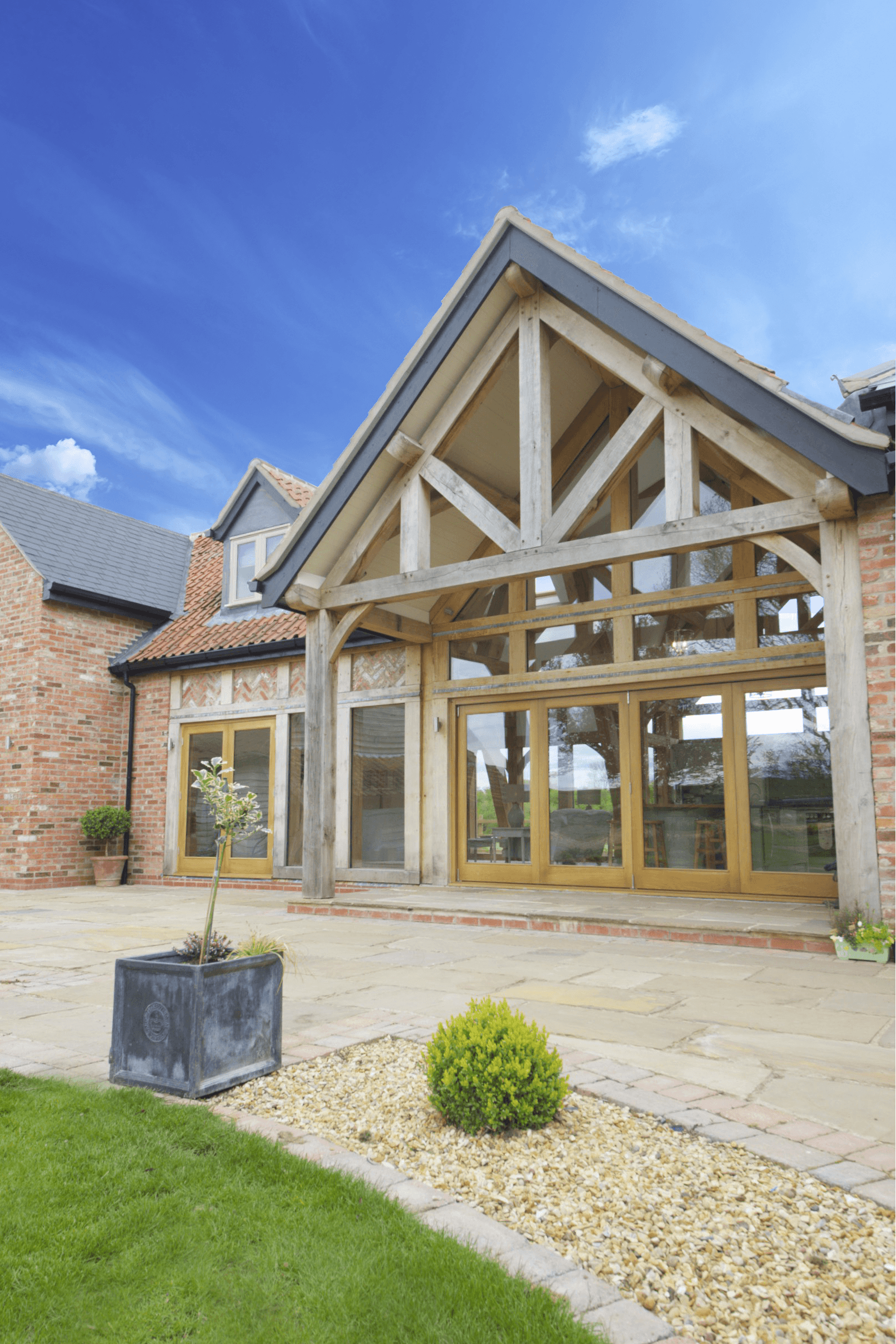 Georgian Farmhouse Design Oak Framed Kitchen Dining And Garden Room Extension To