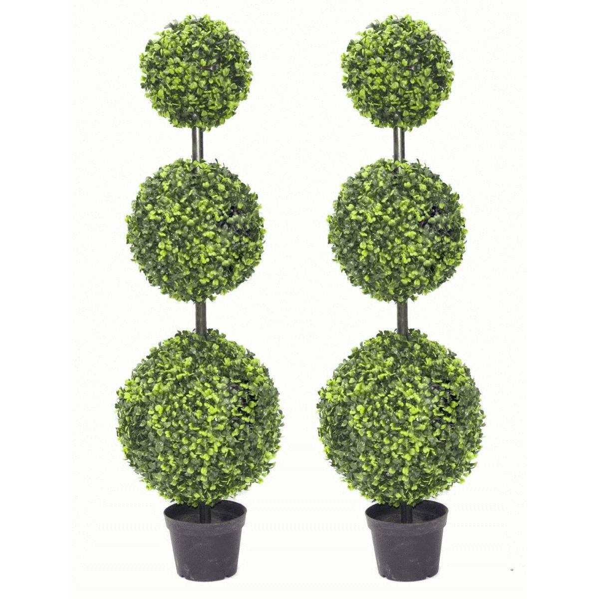Lifelike Plants Pair Of 90cm 3ft Large Artificial Boxwood Tree Topiary