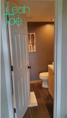 full DIY shower reveal rustic modern bathroom door open
