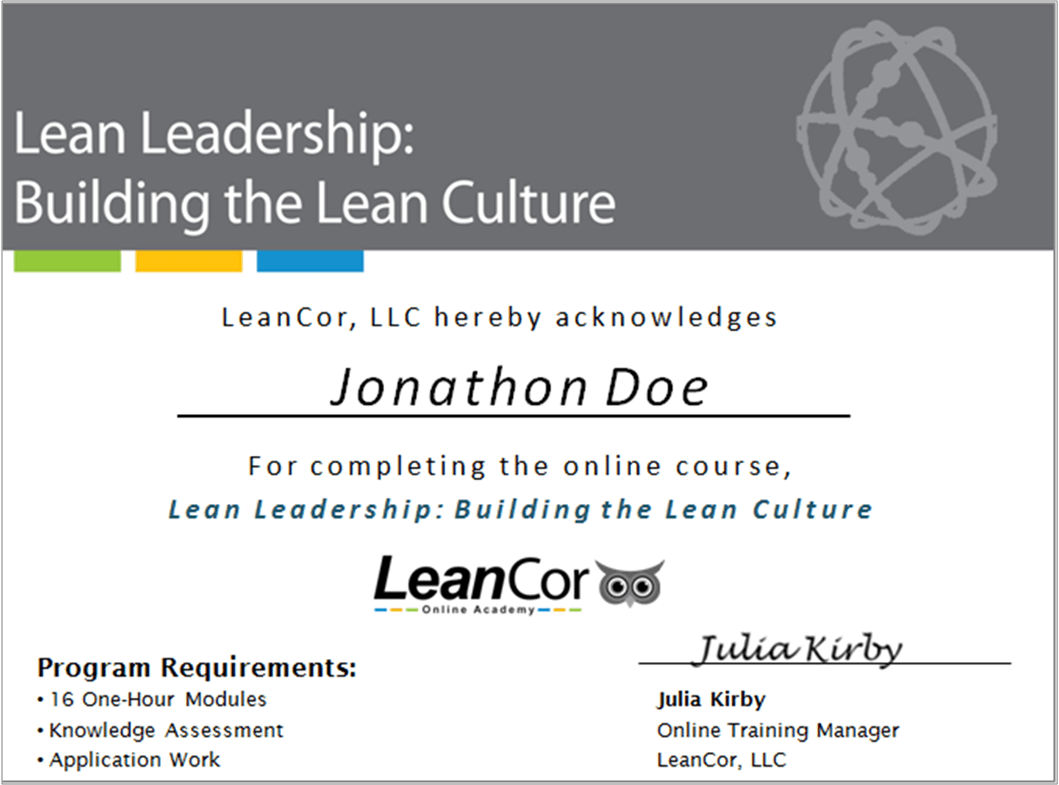 Lean Leadership Lean Leadership Certificate Leancor Supply Chain Group Leancor